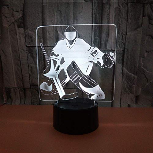 Nachtlicht Ice Player 3D Lampe Hockey Player Bunte Note 3D Visuelle Schreibtischlampe Kreatives Geschenk Atmosphäre Led Tischlampen