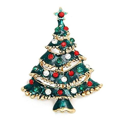 Sunnywill 1 Stk Strass Weihnachtsbaum Brosche Pin Weihnachtsgeschenk für Silvester