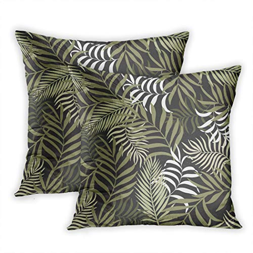 Nekkzi Cushion Covers Set of Two Print Abstract Tropical with Palm Leaves Floral Pattern Bali Beautiful Botanical Color Sofa Home Decorative Throw Pillow Cover 18x18 Inch Pillowcase Hidden Zipper Bali Print Shorts