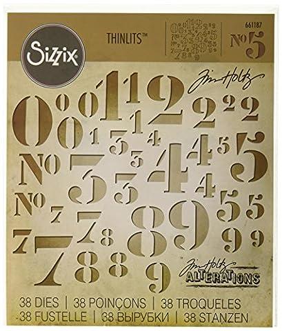 Sizzix 661187 Lot de 38 Thinlits Dies Chiffres au Pochoir par Tim Holtz Métal Multicolore 19,10 x 14,3 x 0,5 cm