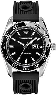 Emporio Armani AR6044 - Reloj de cuarzo para hombre, correa de silicona color negro