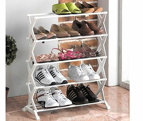Diswa New Portable Folding Shoe Rack Organizer Shelf Metal 5 Layer Shoerack