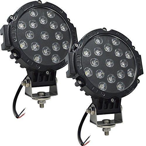 Auxtings 17,8 cm pollici 2 pezzi 51 W luce di inondazione LED work Light bar OFF-ROAD luci di guida per auto Truck pickup SUV utv (nero)