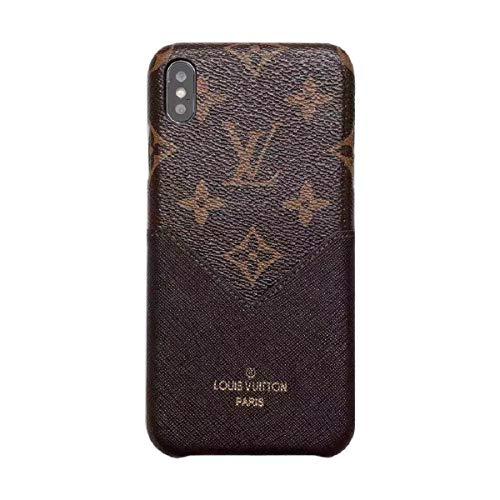 Schutzhülle für iPhone XS MAX Braun modisch Luxuriös und elegant hochwertiges Leder Material Monogramm Vintage Style Cover Case für Apple iPhone XS Max (beige) -