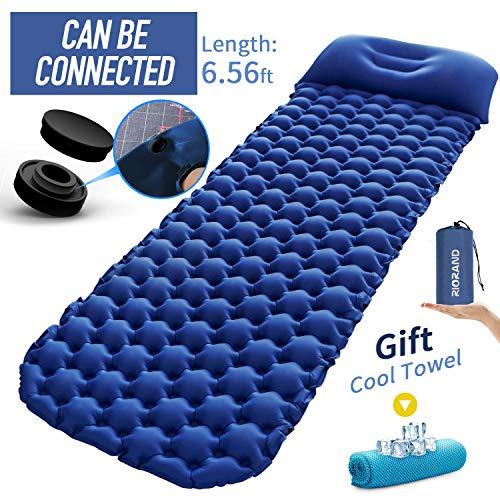 Ultraleichte Aufblasbare Isomatte,Selbstaufblasbare Isomatte Luftmatratze Camping Matratze Schlafmatte mit Kissen Länge 6.56X 1.97FT für Camping,Reise, Outdoor,Wandern