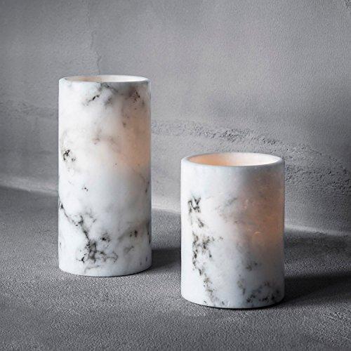 2er Set Marmor LED Echtwachs Kerzen Timer warmweiß batteriebetrieben Lights4fun