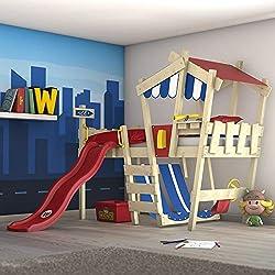 WICKEY lit pour enfant 'CrAzY Hutty' avec toboggan - Lit mezzanine en plusieurs combinaisons de couleurs - 90x200 cm
