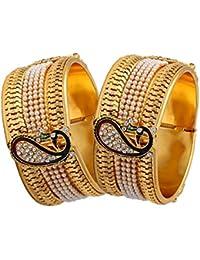 Zeneme Dancing Peacock Gold Plated Bangles For Women / Girls