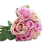 Fami 9 têtes de soie artificielle fleurs fausses feuilles rose mariage décoration florale bouquet (Rose)