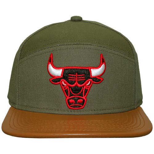 Mitchell And Ness - Casquette 6 Panel Hybrid Homme Chicago Bulls Canvas Horizon - Green / Brown
