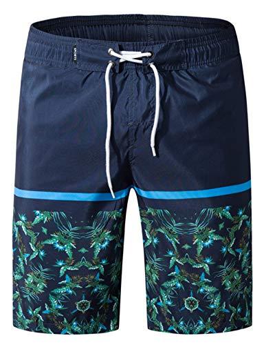 APTRO Herren Slim Fit Freizeit Shorts Casual Mode Urlaub Strand-Shorts Sommer Kokosnuss Palmen Mit Innenslip, Dunkelblau-1807, XXL - Retro Boardshorts