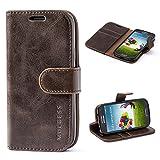Mulbess Ledertasche im Ständer Book Case / Kartenfach für Samsung Galaxy S4 mini Tasche Hülle Leder Etui,Vintage Braun