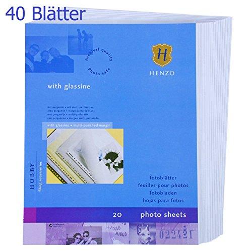 40 Blätter HENZO Fotokarton weiß - DIN A4 - 220 g/qm mit Pergaminpapier - mit Ringlochung -...