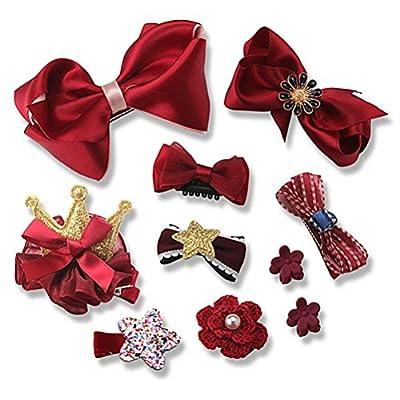 Lalang 10pcs Girl's Ribbon Hair Clips Set Cute Bowknot Flower Princess Glitter Hair Barrettes, Red