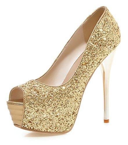 db75544e878018 YE Damen Peeptoes High Heels Plateau Stiletto 13cm Absatz Pailletten  Elegante Glitzer Fashion Party Pumps Schuhe