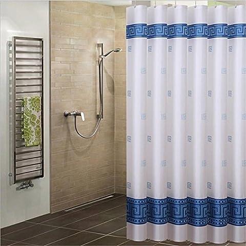 Motif en treillis Bleu illustrations Forme géométrique Rideau de douche en tissu, tissu de polyester de salle de bain Rideau de douche, Polyester, bleu, 32*72
