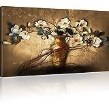 Magnolien in der Vase Wandbild Blumen Bilder auf Leinwand - 100x55 cm 1-Teilig: Mehrfarbig