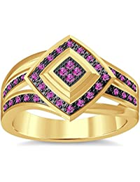 Silvernshine 1.35Ctw Round Cut Pink Sapphire Sim Diamonds 14K Yellow Gold Plated Engagement Ring