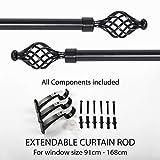 Deco Essential Swirl Iron 36'-66' Extendable Curtain Rod-Black Matt