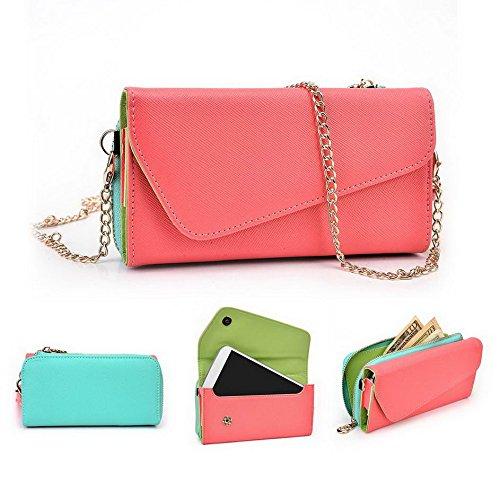Kroo d'embrayage portefeuille avec dragonne et sangle bandoulière pour Alcatel OneTouch Hero 2+/Pop Mega Green and Pink Rouge/vert