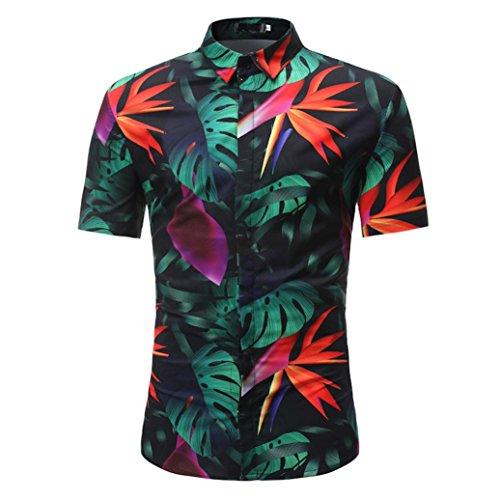 Herren Shirts daoroka Summer Short Sleeve Retro Blumenmuster Button Casual Fashion Bluse Slim Fit Weich Strand Tragen Tops T Shirt XL Schwarz -