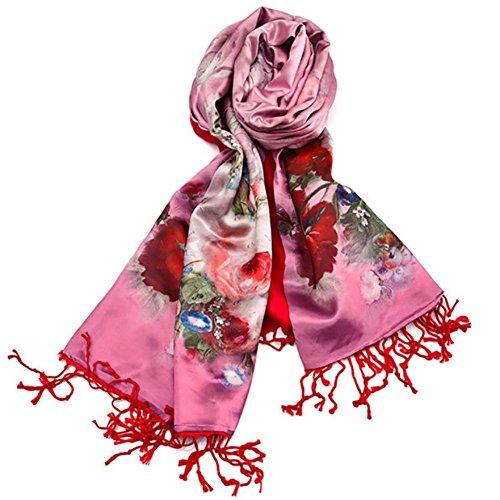 Digitale doppio spazzolato femminile rosa raso lunga sciarpa ,