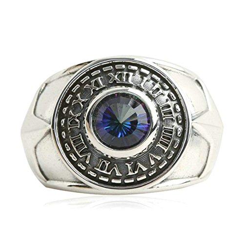 Epinki 925 Sterling Silber Punk Rock Retro Gothic Pentagramm Blau Cubic Zirkonia Ring Herren Ringe Bandringe Siegelring Gr.67 (21.3)