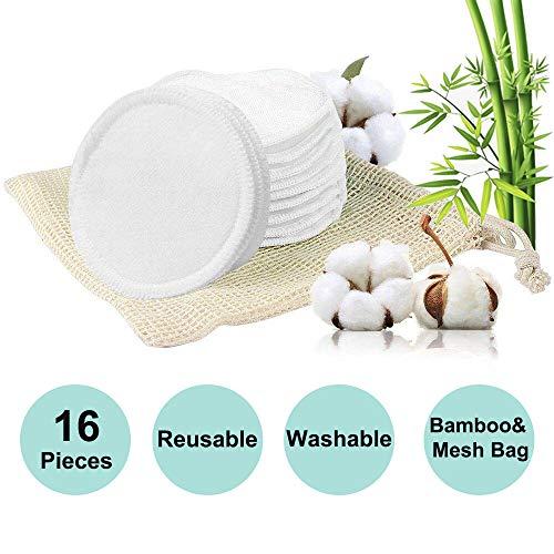 16 Waschbare Abschminkpads Bambus   Makeup Entferner Pads   Wattepads Wiederverwendbar aus Bambus & Baumwolle mit Wäschebeutel   Umweltfreundlich   Gesichtsreinigung   Zero Waste