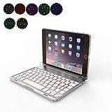 OBOR Aluminiumlegierung iPad Mini Keyboard Case - 7 Farben Hintergrundbeleuchtung Flip Wireless Bluetooth Tastatur Schutzhülle für iPad Mini 2/3 (Silber)