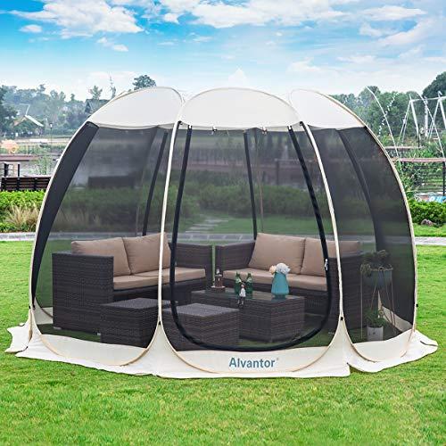 Alvantor Sichtschutz Haus Zimmer Camping Zelt Outdoor Baldachin Esszimmer Pavillon Pop Up Sonnenschutz Schutz Netz Wände Nicht Wasserdicht Patent, Unisex, Natur, 12'x12'