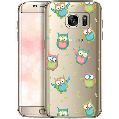 OOH!COLOR® Design Case für Samsung Galaxy S7 Hülle MPA137 Eule Grafik Transparent Silikon TPU-Bumper Schutzhülle Soft Tasche Elastisch Etui Cover mit farbig Vogel Print Patterns Muster Süß Motiv
