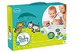 Unbekannt Aladine 85060 - Stampo Baby Box Safari, 2 Stempel, 1 Stempelkissen mit abwaschbarer Tinte, 4 Wachsmalstifte, Spiel