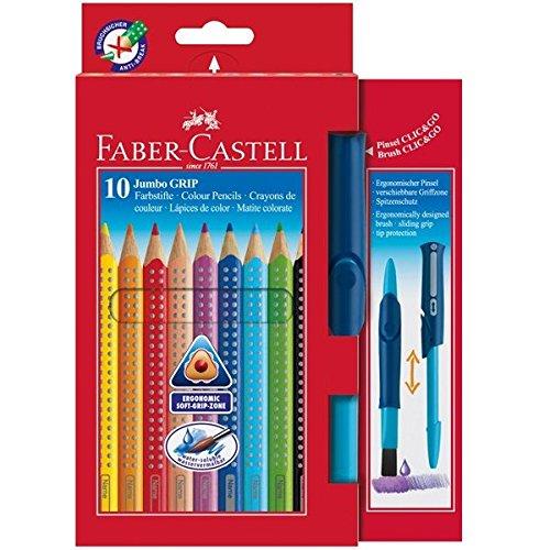 Faber-Castell 110914 - 10 Jumbo GRIP Buntstifte, inklusive CLIC & GO, Pinsel Größe: 10