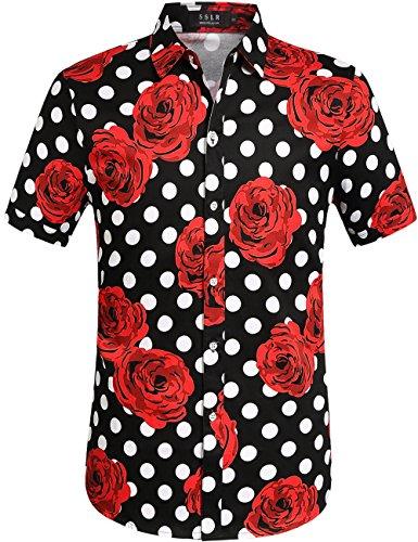 SSLR Camisa Manga Corta Casual Hombre de Rosas y Lunares Grandes (Medium, Negro)