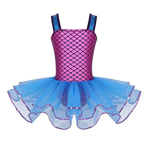 Blau Kostüm Tutu - Tiaobug Meerjungfrau Kostüm Mädchen Kinderkostüm Nixe Mermaid Tutu Tütü Rock Kinder Ballett Body Trikot festliches Festzug Kleid Verkleidung Mottoparty Cosplay Kostüm Blau gr.104/4Jahre