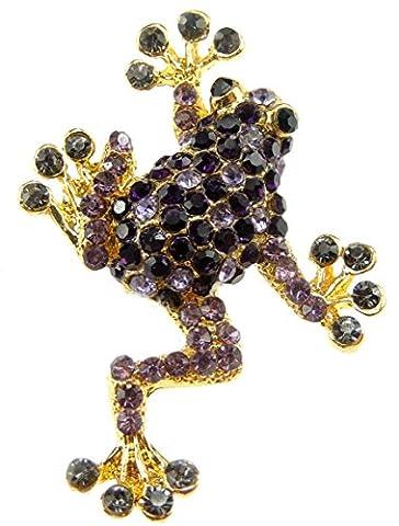 Glamour Girlz Ladies Elegant Frog Lizard Rhinestone Coloured Brooch Purple