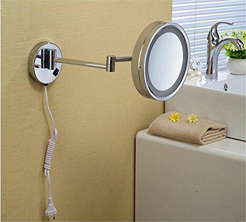 Chrom Wand montiert 8 Zoll Messing einseitig 3X Vergrößerungsspiegel LED Licht Falten Make-up Spiegel Kosmetik Spiegel Dame Gift