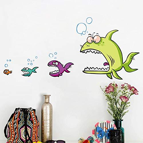 JXND Blaue Zitrone Wandaufkleber große Fische Essen kleine Fische Wohnzimmer TV Wanddekoration Aufkleber kreative Aufkleber senden Zwei Sätze von 40x60cm -