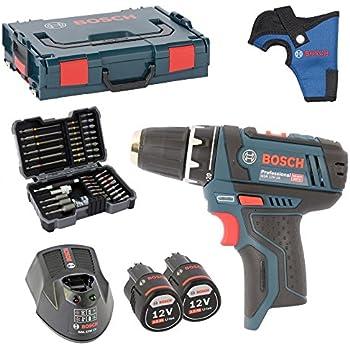 Bosch Akku-Bohrschrauber GSR 10,8-2-Li inkl. Bohrfutter und 2 Akkus 2,0AH und Ladegerät AL1130CV in L-BOXX Gr. 1 MIT HOLSTER + Bosch Bitsortiment 43 tlg. inkl. SW 6,8,10