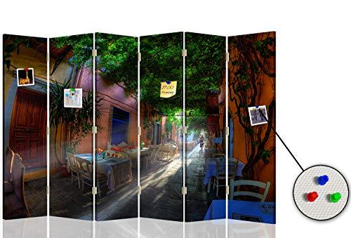 Feeby Biombo Opaco Grecia Creta 6 Paneles Unilateral Restaurantes Verde 216x175 cm