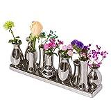 Keramikvasenset Blumenvase Keramikvasen bunt / weiß Vase Blumen Pflanzen Keramik Set Deko Dekoration (10 Vasen, Silber)