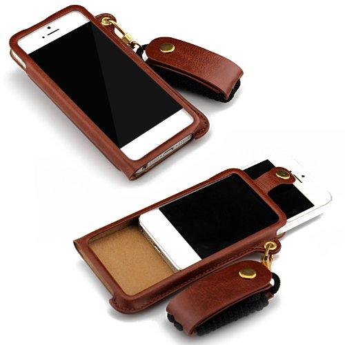 Monkey Cases® iPhone 5/5S-Leather Case-Brown-Étui de luxe-Business-- Housse en cuir-Marron-Leather-Original-Neuf/emballage d'origine
