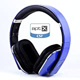 August EP650 - Bluetooth Headphones with 3.5mm Audio In - Wireless or Wired Stereo Headset with NFC Tap to Connect - Rechargeable Battery / Built In Battery / USB Audio In - Blue