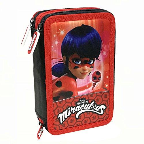 Miraculous, le storie di ladybug e chat noir 17234 astuccio riempito, 44 accessori scuola, 20 centimetri, multicolore