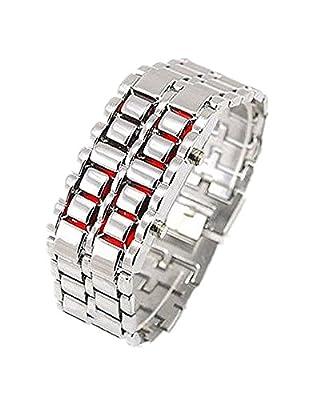 Samgu-Watch Uhr Edelstahl LED Armbanduhr Herren Unisex Samurai Silber Armband