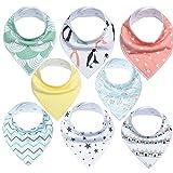 Lebrouge Bavoir bandana Lot de 8 Bavoir Naissance Protéger les Vêtement des Bébés Bavoir Triangle Bavette Pour Bébé Bandana Enfant Bébé Fille et Garçon