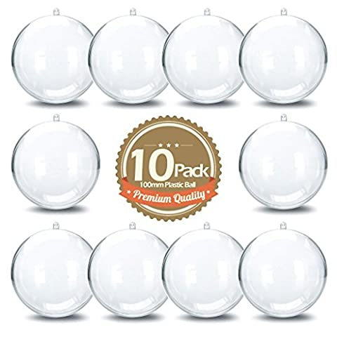 EKIND 100mm Clear DIY Plastic Acrylic Fillable Ball Ornament (Pack of 10)
