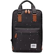 """Bolsas escolares KAUKKO Mochila estilo Oxford Bolsa ligera Bolso del ordenador portátil de 14"""" (Negro)"""