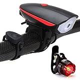 SLCSL Fahrradscheinwerfer USB Lade Scheinwerfer Hörner Mountainbike Horn Scheinwerfer Hervorhebung Fahrrad Hörner