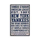 Letitia48Maud Holzschild New York Yankees, handgefertigter Baseball-Druck auf Holzdekor, Bronx Bombers, handgefertigt, Heimdekoration, Wandschilder